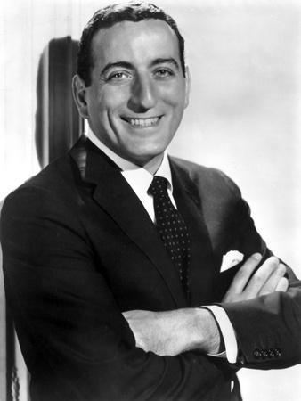 Tony Bennett Posed in Black Suit With Microphone