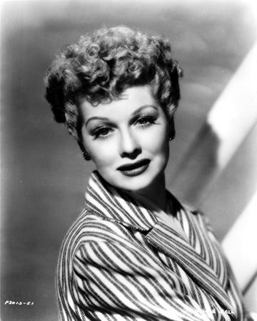 Lucille Ball Posed in Stripe Suit with a Smile