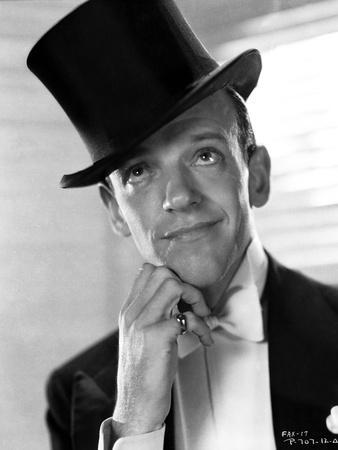 Fred Astaire Posed in Top Hat Black and White