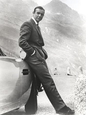 Sean Connery Leaning on Car in Formal Outfit