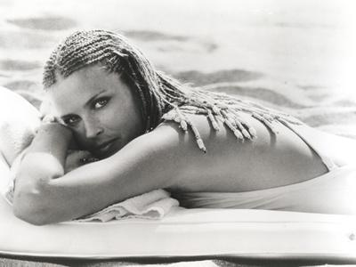 Bo Derek at Beach in Bikini Black and White