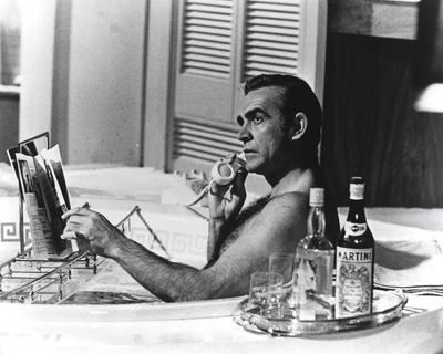 Sean Connery Taking a Bath with Champagne