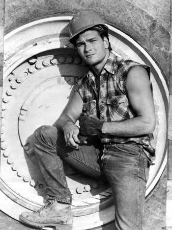 Patrick Swayze Posed in Construction Outfit