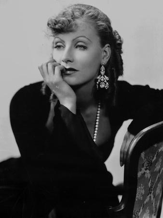 Greta Garbo Lady in Black Leaning on Chair