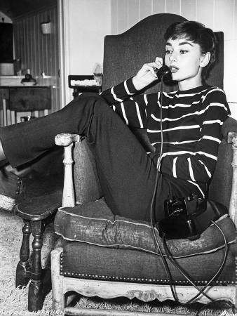 Audrey Hepburn Striped Attire on the Phone