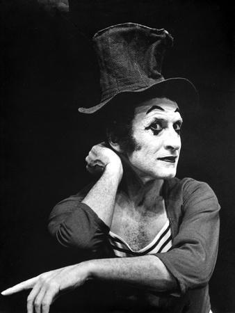 Marcel Marceau Posed in Black Background