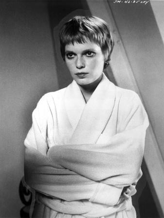 Mia Farrow Portrait wearing White Robe
