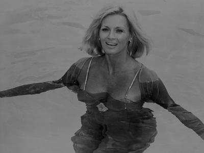 Angie Dickinson Swimming Black and White