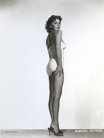 Rhonda Fleming on a White Swimming Suit