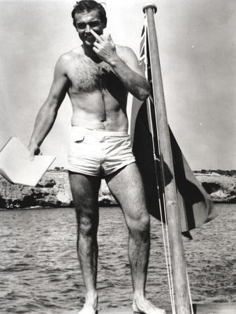 Sean Connery on Raft in Black and White