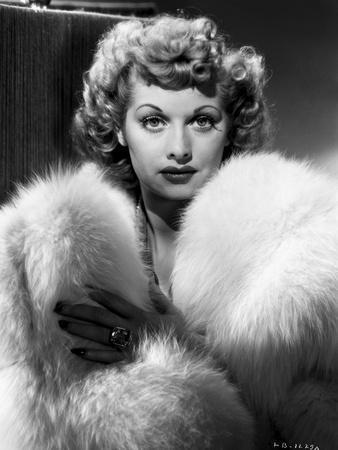 Lucille Ball Posed in Fur Coat Portrait