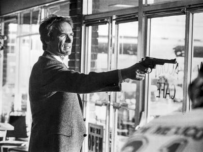 Clint Eastwood Pointing Pistol in Tuxedo