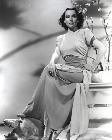 Dolores Del Rio Seated in White Dress