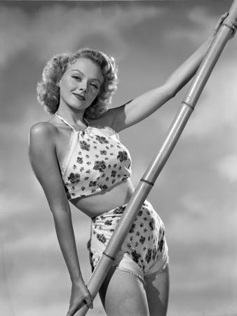 Leslie Brooks Posed in Floral Swimwear