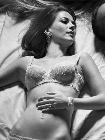 Natalie Wood Lying in Black and White