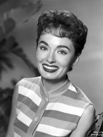 Ann Blyth on a Stripe Sleeveless Top