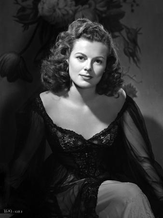 Barbara Hale on a Dark Dress sitting