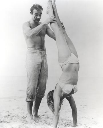 Sean Connery with a Lady on Beach
