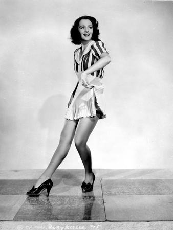Ruby Keeler posed in Striped Shirt
