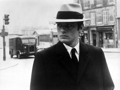 Alain Delon in Black Suit With Hat