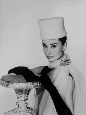 Audrey Hepburn White Gown posed
