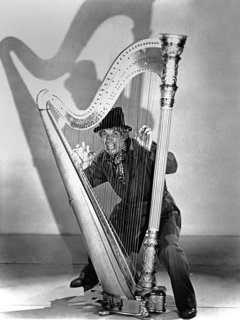 Marx Brothers Cast Playing Harp