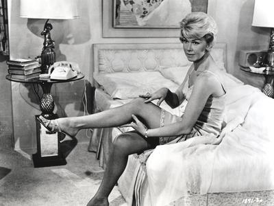 Doris Day Seated in Lingerie
