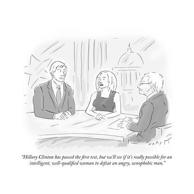 """Hillary Clinton has passed the first test, but we'll see if it's really p…"" - Cartoon"