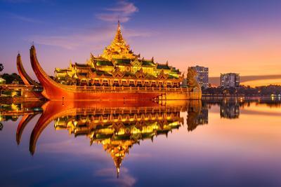 Yangon, Myanmar at Karaweik Palace in Kandawgyi Royal Lake.