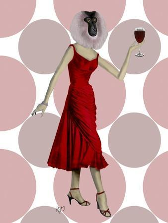 Monkey in Red Dress with wine