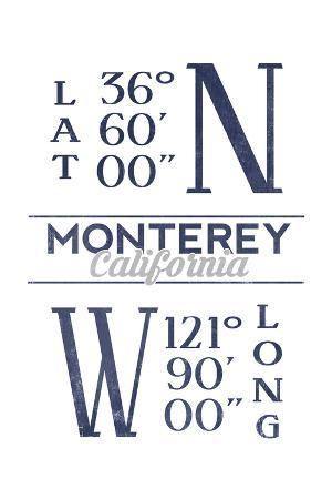 Monterey, California - Latitude and Longitude (Blue)