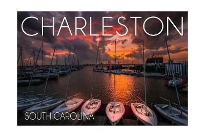 Charleston, South Carolina - Harbor and Sunset