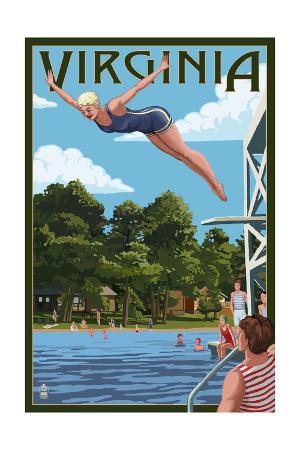 Virginia - Woman Diving and Lake