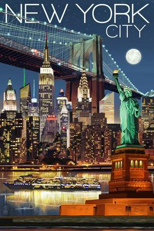 New York City, NY - Skyline at Night