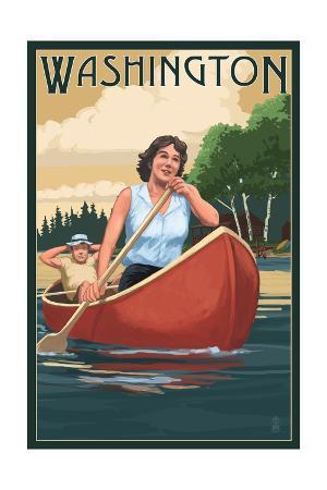 Washington - Canoers on Lake