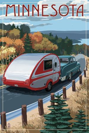 Minnesota - Retro Camper on Road
