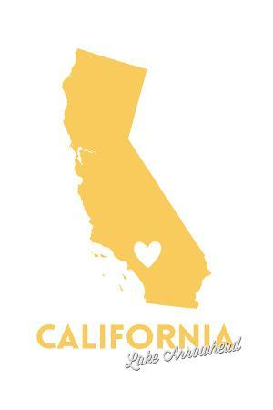 Lake Arrowhead, California - State Outline and Heart (Yellow)