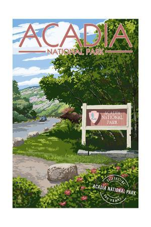 Acadia National Park - Park Entrance Sign and Moose - Centennial Rubber Stamp