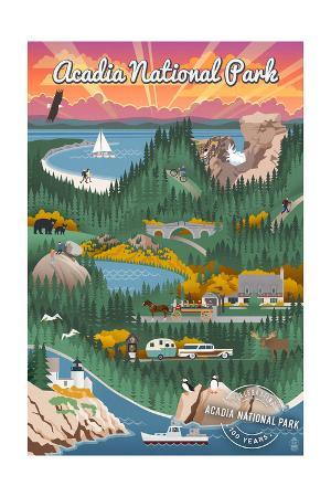 Acadia National Park - Retro View - Centennial Rubber Stamp