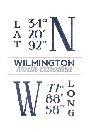 Wilmington, North Carolina - Latitude and Longitude (Blue)
