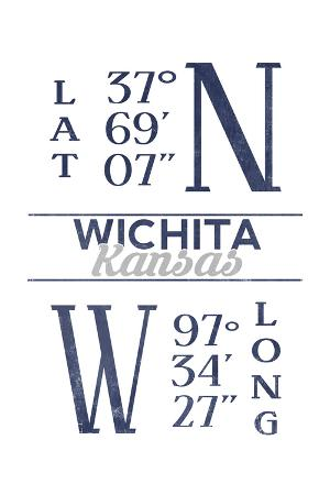 Wichita, Kansas - Latitude and Longitude (Blue)