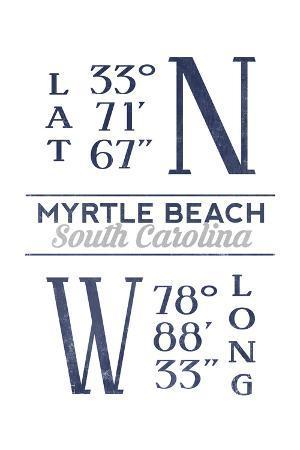 Myrtle Beach, South Carolina - Latitude and Longitude (Blue)