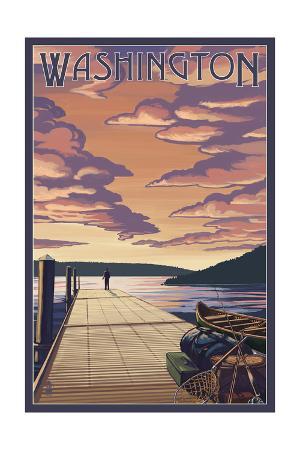 Washington - Dock Scene and Lake