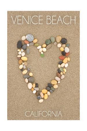 Venice Beach, California - Stone Heart on Sand