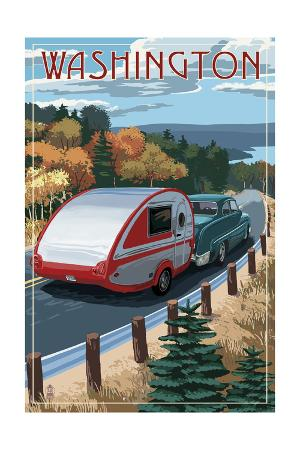 Washington - Retro Camper on Road