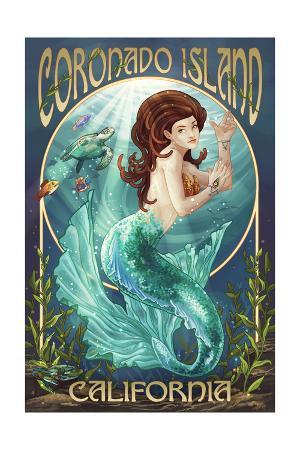 Coronado Island, California - Mermaid (Blue Tail)