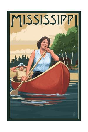 Mississippi - Canoers on Lake