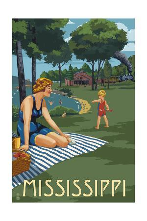 Mississippi - Lake and Picnic Scene