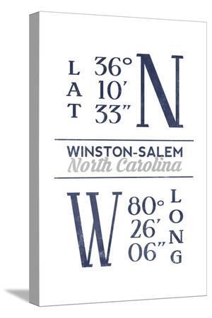 Winston-Salem, North Carolina - Latitude and Longitude (Blue)