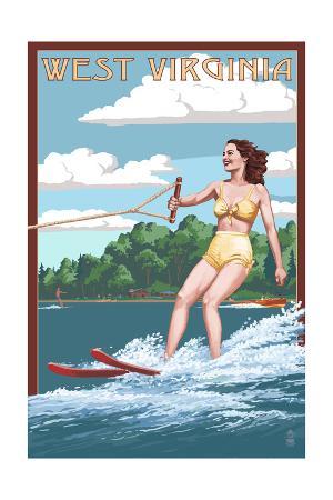 West Virginia - Water Skier and Lake